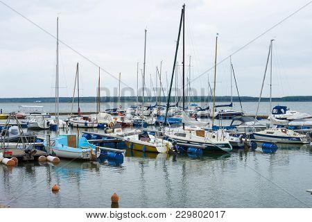 Geierswalde, Germany - May 20, 2017: Marina On The Lake Geierswalder See. Free State Of Saxony. Geie