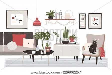 Living Room Full Of Cozy Furniture And Home Decorations - Sofa, Armchair, Coffee Table, Shelf, Wall