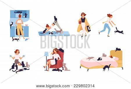 Set Of Crazy Cat Lady Performing Her Daily Activities Being Surrounded By Pets - Sleeping, Doing Yog