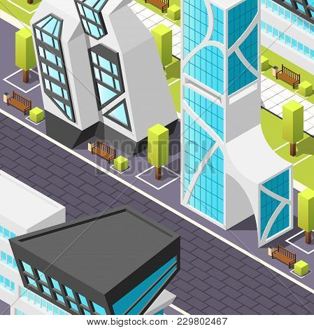 Fragment Of City Pedestrian Zone With Tile Pavement And Abstract Buildings In Futuristic Design Isom