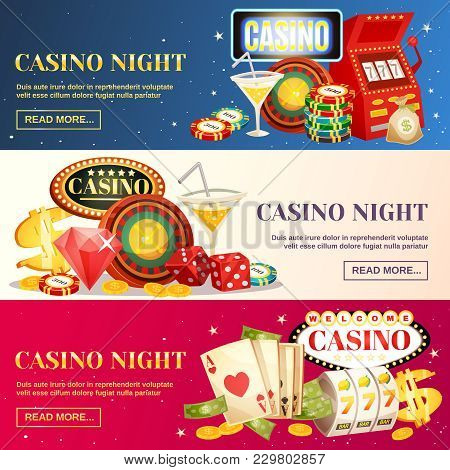 Night Casino Three Horizontal Banners With Roulette Cards Chips Jackpot Dice Cocktail Elements Flat