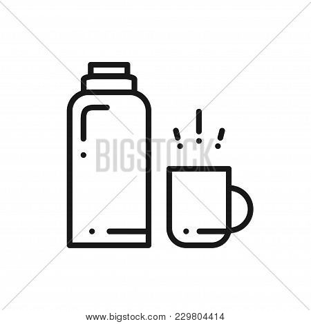 Thermos Bottle Line Icon. Vacuum Flask. Hot Water