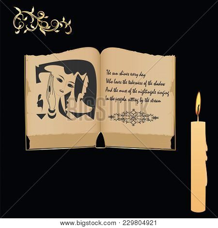 Old Book With An Illustration - A Mystical Portrait Of A Woman - Poems - A Candle Burning Wax - On A