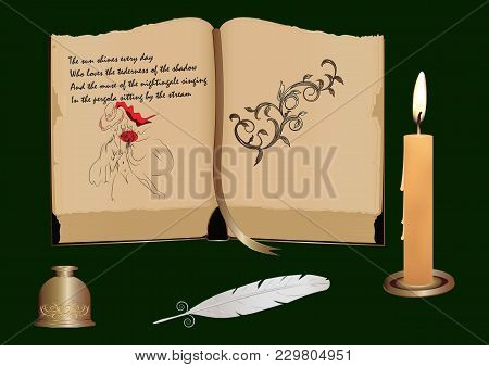 Poems Written On The Page Of An Ancient Book - With An Illustration Of A Female Silhouette - Decorat