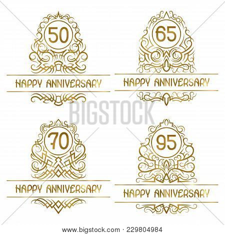 Set Of Golden Anniversary Vintage Emblems For Fifty, Sixty Five, Seventy, Ninety Five Years.