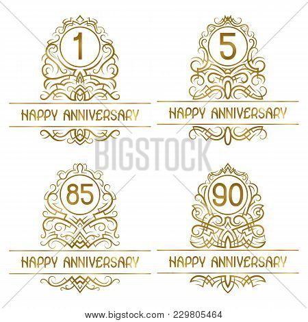 Set Of Golden Anniversary Vintage Emblems For One, Five, Eighty Five, Ninety Years.