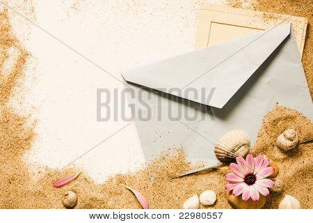 letter full of sand