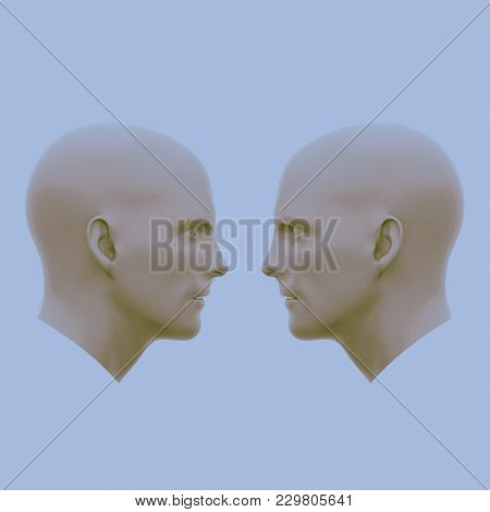 Two Male Heads Facing Each Other. Minimalistic Abstract Art. Communication Concepts. 3d Rendering Il
