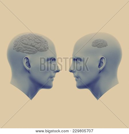 Two Male Heads One With A Large Brain The Other With A Small. Minimalistic Abstract Art. Communicati