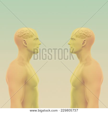 Two Men Face Each Other With Brains. Abstract Minimalist Art. Communication Concept. 3d Rendering Il