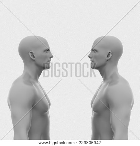 Two Men Face Each Other Without Clothing To The Waist. Abstract Minimalist Art. Communication Concep