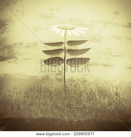 Vintage Flower. Botanic Concept. Digital Paintig Illustration