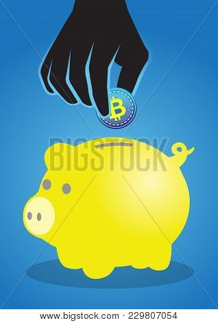 An Illustration Of Yellow Piggy Bank And Giant Black Hand