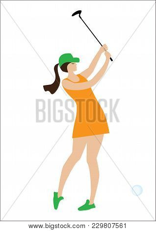 Golf - Girl With A Club - Isolated On White Background - Art Creative Vector Illustration