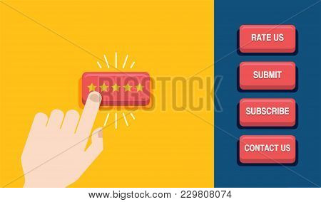 Hand Press The Star Button. Customer Review Concept. Rating Golden Stars. Web Buttons Design. Vector