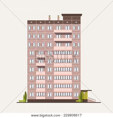 Multistory Prefabricated Panel Building Built In Modern Architectural Style. Living House Isolated O