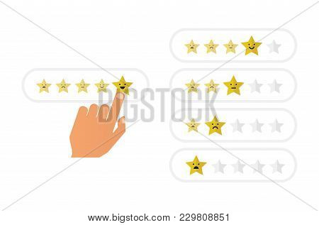 Hand With Pointing Finger Pointing To Rating Stars. Flat Illustration Design