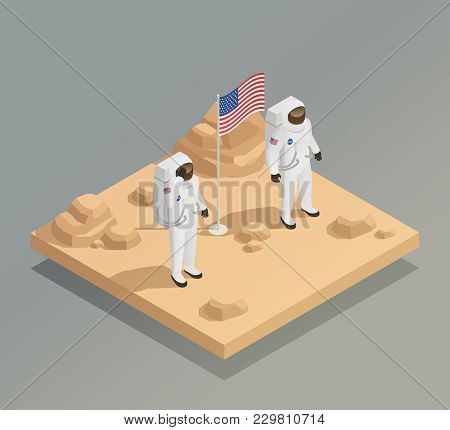 American Space Exploration Mission Isometric Composition With Astronauts In Spacesuits On Planet Sur