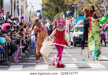 Nahariyya, Israel, March 02, 2018 : Participants Of The Annual Carnival Of Adloyada Dressed In Fabul