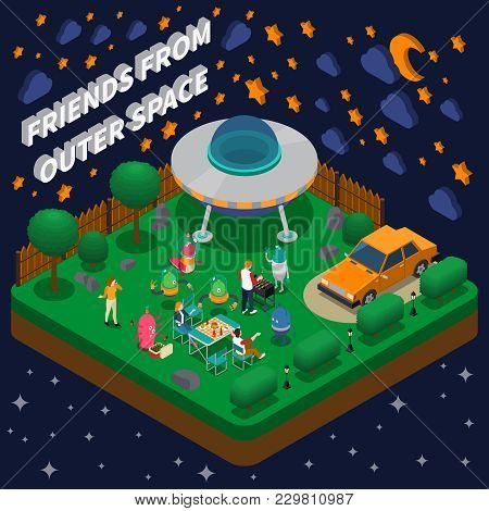 People Having Picnic With Alien Characters In Yard With Spaceship Isometric Composition 3d Vector Il