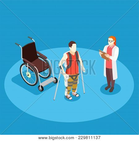 Medical Rehabilitation Isometric Composition With Doctor And Patient On Crutches With Bionic Prothes
