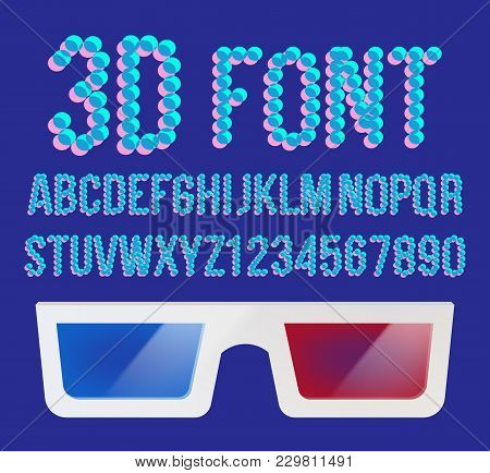 3d Effect Pixel Stereo Font Vector. Distortion Numerals And Letters. Illustration