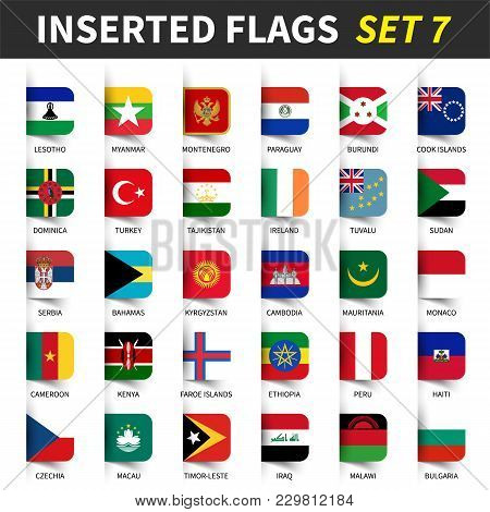 All Flags Of The World Set 7 . Inserted And Floating Sticky Note Design . ( 7/8 ) .