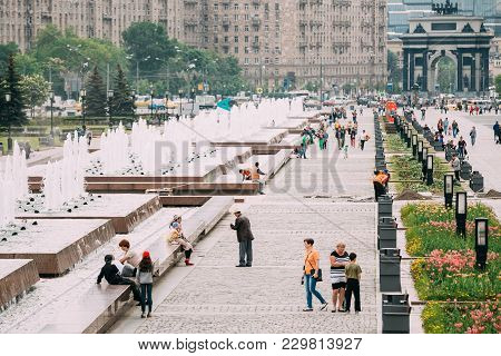Moscow, Russia - May 24, 2015: People Walking In Poklonnaya Hill In Victory Park In Moscow, Russia
