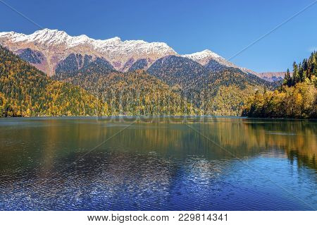 Mountain Lake Ritsa In The Late Autumn. Abkhazia.