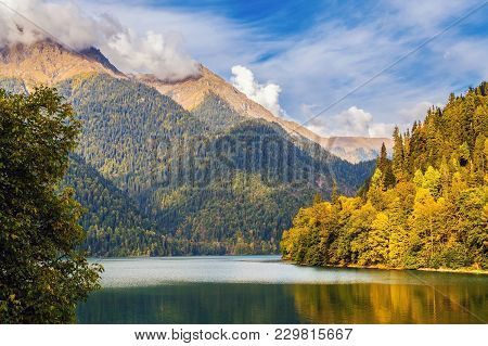 Late Autumn On The Mountain Lake Riza. Abkhazia.