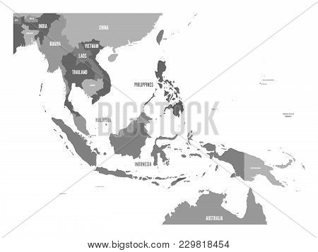 Map Of Southeast Asia. Vector Map In Shades Of Grey.