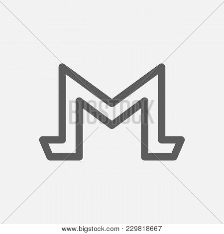 Monero Icon Line Symbol. Isolated Vector Illustration Of Cryptography Sign Concept For Your Web Site