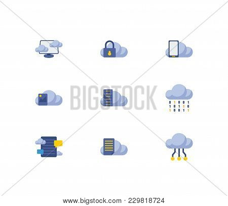 Cloud Service Icons Set With File Storage, Blog Storage And Data Storage Elements. Set Of Cloud Serv