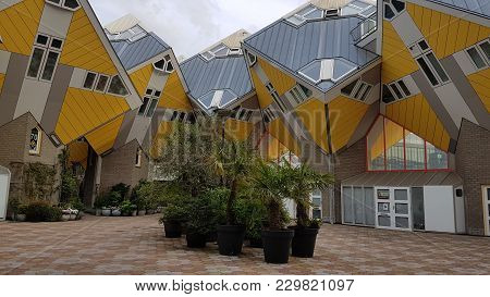 Rotterdam Cubic Houses, Original Architecture And Design, Netherlands - July 2017