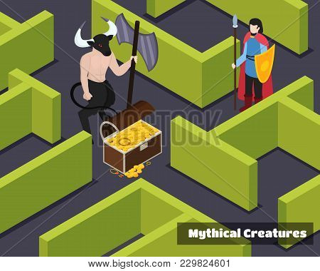 Mythical Creatures Isometric Composition With Monster Protector Of Treasure And Armed Warrior At Gre