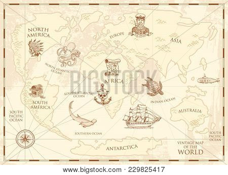 Vintage World Map With Compass And Mountains. Sea Creatures In The Ocean. Aged Treasure. Marine Capt