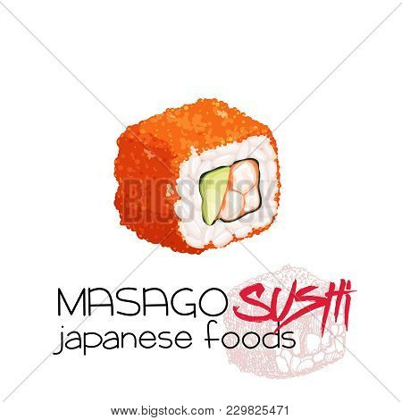 Masago Sushi. California Roll. Japanese Traditional Food Icon. Isolated Vector Illustration.