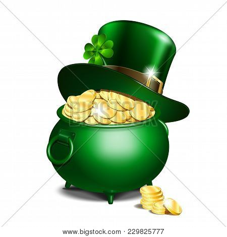 St. Patricks Day Symbols. Green Leprechaun Hat With Clover Leaf On Pot Full Of Gold. Vector Illustra