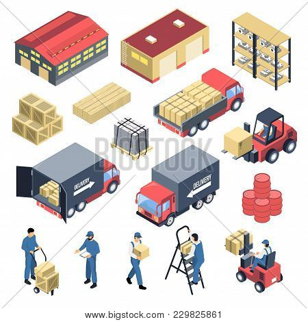 Ware House Set Of Isometric Icons With Storage Building, Staff, Forklifts, Boxes And Trucks Isolated