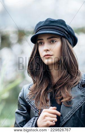 Fashion Portrait Of Stylish Pretty Woman In Black Rock Style