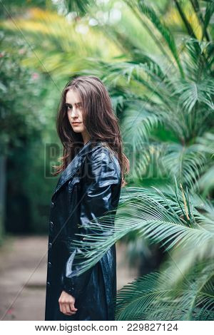 Stylish Beautiful Woman Posing On Nature Background In Bush