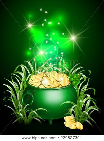 Green Iron Cauldron Full Of Gold Coins With Mystic Bright Light In Grass On Dark Background. Stack O