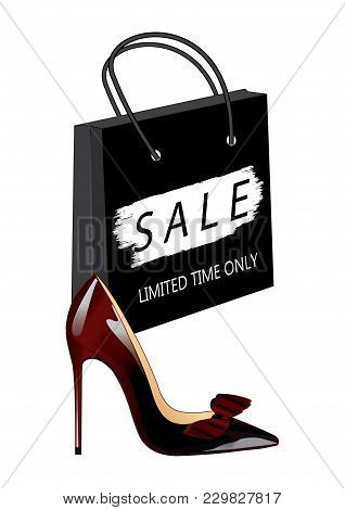 Sale - Realistic High-heeled Shoe, Lacquer, Burgundy-black - Paper Bag, Watercolor Brush Stroke - Is