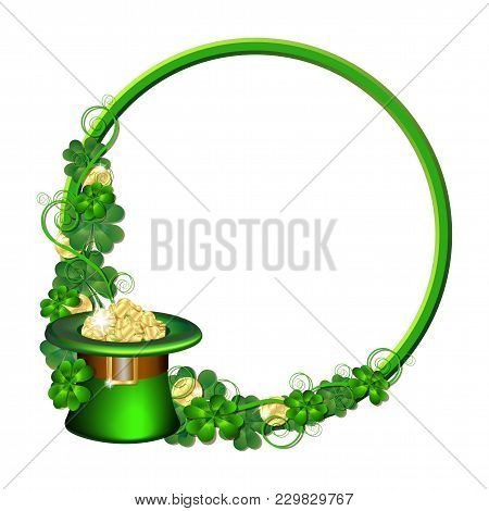 Patrick Day Round Frame With Gold Coins, Leprechaun Hat And Clover Leaves. St. Patricks Day Symbols.