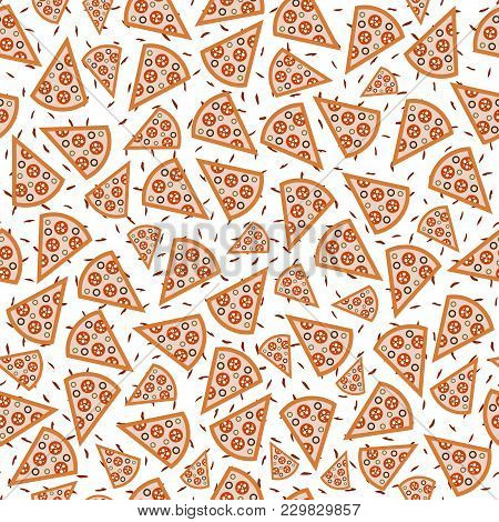 Seamless Pattern Slices Of Pizza With The Background Dash-vector Illustration. White Background. Fla