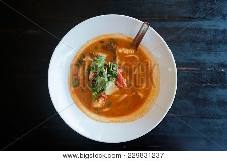 Tom Yam Soup. Traditional Thai Seafood. Top View