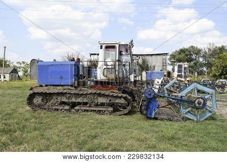 Russia, Poltavskaya Village - September 6, 2015 Combine Harvesters Agricultural Machinery
