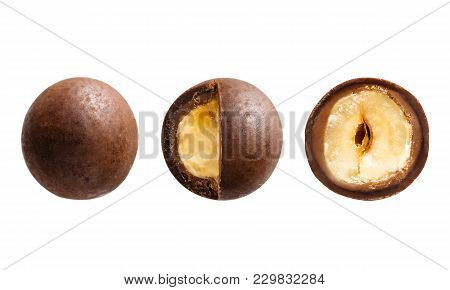 Sugared Hazelnut Dragees In Chocolate Isolated On White Background
