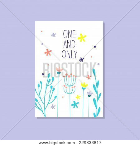 Romantic Greeting Card With The Inscription One And Only, Trendy Elegant Postcard Vector Illustratio