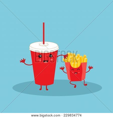 Funny Laughing Cola Paper Cup And French Fries Character With Eyes And A Wide Smile Isolated On Blue